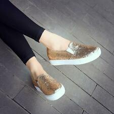 New Womens Bling Bling Flats Slip On Fashion Sneakers Shinny Loafers Shoes size