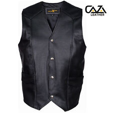 REAL LEATHER MENS BIKER STYLE MOTORCYCLE WAISTCOAT NEW PLAIN VINTAGE BLACK VEST