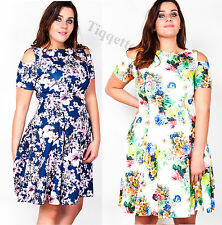 Plus Size Cut Out Shoulder Floral Print Dress Size 16 - 26