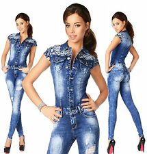 Sexy New Women's Denim Jeans Blue Playsuit Jumpsuit Overall Skinny Slim E 816