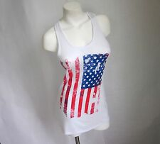 American Flag M L White Tank Top New Women USA 4th July Patriotic Distressed NWT