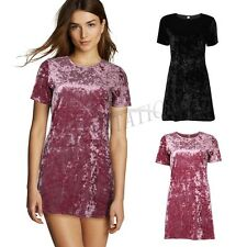 Summer Women Short Sleeve Velvet Bodycon Party Evening Cocktail Loose Tops Dress