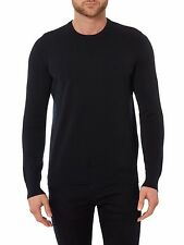 NEW ARMANI JEANS AJ LOGO BLACK FINE KNIT CREW NECK REGULAR JUMPER SIZE S