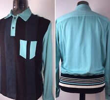 Vintage 1950's Atomic Striped Rayon Rockabilly VLV Swankys Shirt Small-3X