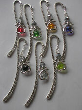 STUNNING HEART GUARDIAN ANGEL/FAIRY CHARM ON TIBETAN SILVER BOOKMARK CRYSTAL