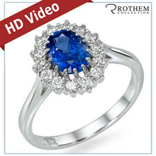 1.65 ct White Gold Princess Lady D Oval Blue Sapphire Engagement Ring 48046012