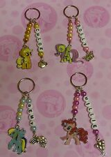 Personalised My Little Pony Keyring-Choose charm and any name. Great Gift.