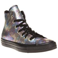 New Womens Converse Metallic Multi All Star Hi Leather Trainers Canvas Lace Up