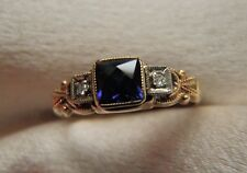 FABULOUS UBER RARE ANTIQUE OSTBY BARTON 10K GOLD SAPPHIRE DIAMOND RING  SZ 6
