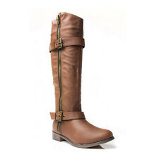 Equestrian Riding Zipper Buckle Knee High Vegan Leather Boot Tan
