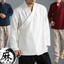 Mens Casual Blouse Chinese style Tops Linen Gown Shirt loose kimono