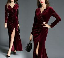 Women Long Sleeve Sexy V Neck Side Open Pleated Velvet Ball Gown Party Dresses