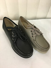 Softspots Annie Lo  Black/Taupe/Bone Leather Lace Up Loafers N, M, W, XW