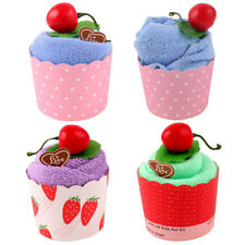 Wedding Party Microfiber Cupcake Design Cherry Decor Gift Cake Towel Washcloth