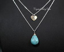 Layered Necklace - Turquoise Necklace - Sterling Silver Turquoise Necklace - Ini