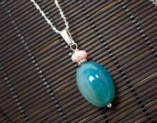 Blue Lace Agate Handmade  Tiny Silver Stone  Yoga Necklace- Children Jewelry