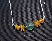Amber Necklace - Sterling Silver Green Fluorite Necklace - Stone Bar Choker