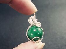Wrapped Emerald Jade Necklace Silver Green Jade Necklace, Single Wrapped Jade Ne