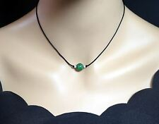 Simple Emerald Jade Choker - Silk Cord 10mm Green Jade Necklace - Single Bead He