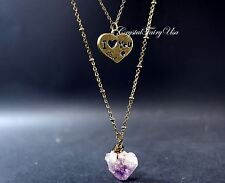 Layered Amethyst Necklace - Long Chain Stone Necklace - Amethyst Pendant - I lov