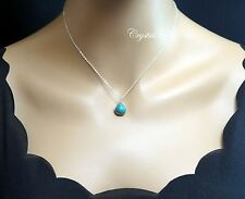Sterling Silver Turquoise Necklace - Wire Wrapped Turquoise Pendant - Turquoise