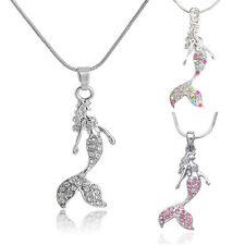 Crystal Natural Fairytale Mermaid Charm Chain Women Girl Pendant Necklace Gifts