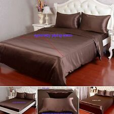 19 MM 100% Pure Silk Duvet Quilt Cover Sheets Pillow Cases Seamed Brown/Coffee