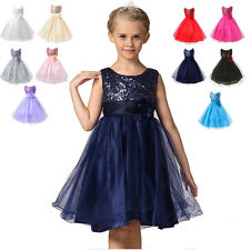 Girl Kids Princess Tutu Dress Sequins Party Wedding Bridesmaid Tulle Flower Gown