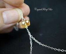 Sterling Silver Citrine Necklace - Citrine Lariat Necklace - Y Chain Necklace -