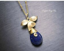 Gold Lapis Lazuli Necklace, Gold Ball Chain Necklace, Natural Teardrop Lapis Laz