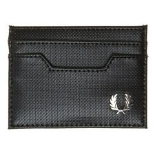 New Mens Fred Perry Black Pique Texture Card Holder Pvc Wallet Wallets