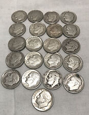 Roosevelt Dimes - Lot of 21- 1946 to 1964 - Various Conditions - Mostly D Series