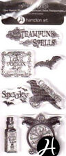 Graphic 45 Halloween acrylic stamp Happy Haunting Steampunk Spells Witch broom