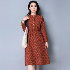 Women's Korean Style Fashion Fresh Floral Printed Loose Tunic Shift Swing Dress
