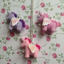 CUTE KITSCH KAWAII PINK LILAC GLITTER MINI UNICORN TOY NECKLACE PENDANT