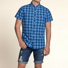Hollister by Abercrombie  Fitch!New Mens Blue White Short Sleeve Plaid Shirt-XLG