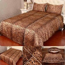 16MM 100% Pure Silk Duvet Quilt Cover Sheets Pillow Cases Seamed Print leopard