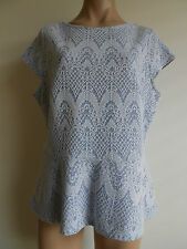 George Size 10 Ice Blue Lace Design Peplum Top Blouse Cap Sleeve BNWOT