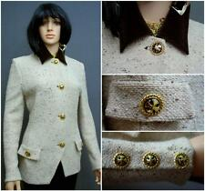 RARE STUNNING ST.JOHN COLLECTION TWEED KNIT BEIGE-MULTI FITTED JACKET,SZ12 CHIC!