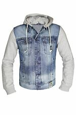 Mens Denim Jean Jacket with Grey Jersey Sleeves by AD Detachable Press Stud Hood