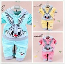 2PC Baby Girl Fall Winter Jumpsuit Outfit Set Rabbit Velvet Tracksuits Clothes