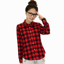 2017 Campus Womens Plaid Check Shirt Long Sleeve Flannel Button Down Blouse Top