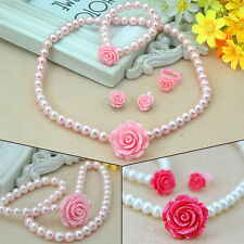 Sets Pearls Flower Shape Kids Girls Child Necklace Bracelet Ring Ear Clips Set A
