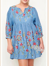Womens Floral Embroidered Denim Tunic Dress Cotton Top Plus Size XL 1X 2X NEW