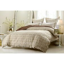 King/CKing Full/Queen Taupe Paisley Floral Duvet Set 6 Pc Cover Comforter Shams