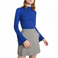 Women Fashion Mock Neck Sweater Flare Bell Sleeve Shirt Ribbed Knitted Top Blue