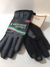 $44 NWT ISOTONER Women's SmarTouch Fleece Lined Gloves Black Charcoal M/L