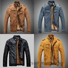 New Fashion Men's Warm Leather Jacket Parka Outerwear Fur Lined Winter Coat
