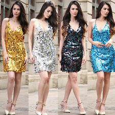 Sexy Ladies Sequin Mini Strappy Dress Prom Ball Cocktail Party Dresses Plus Size