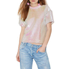 Womens Pink Shiny Sequin Crew Neck Short Sleeve T-shirt Ladies Summer Blouse Top